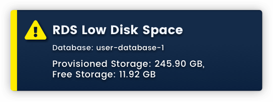 Warning: RDS Low Disk Space