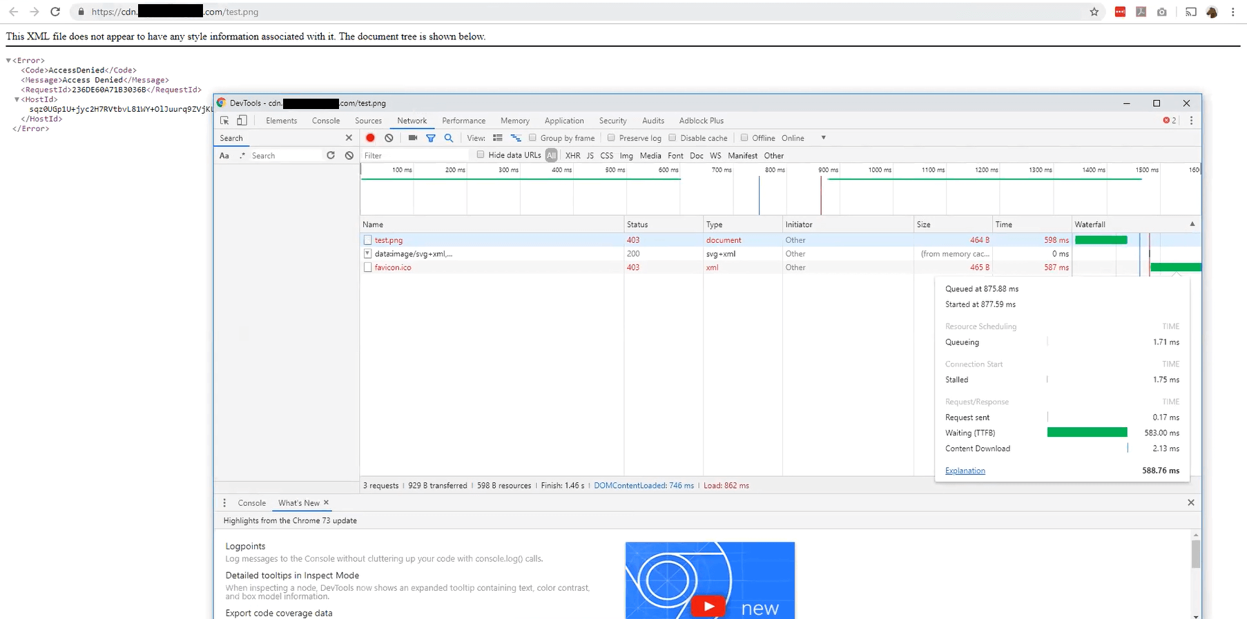 Chrome console for the error document