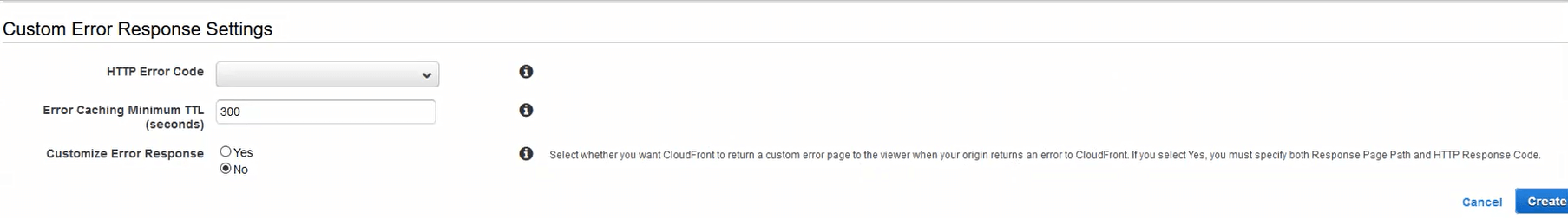 Creating a new custom error response