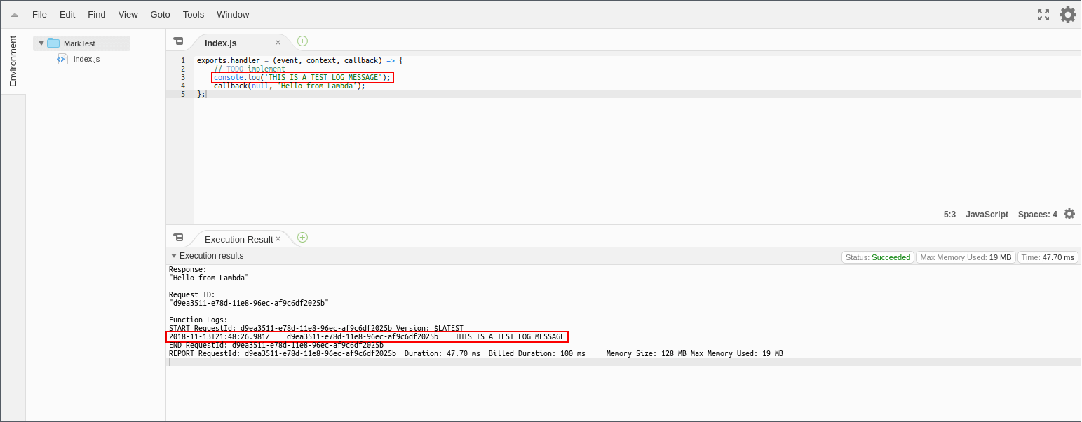 Log messages in the execution results