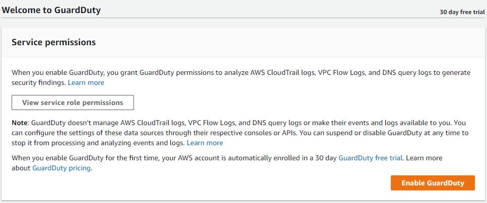 Enable Amazon GuardDuty with a single click per region.