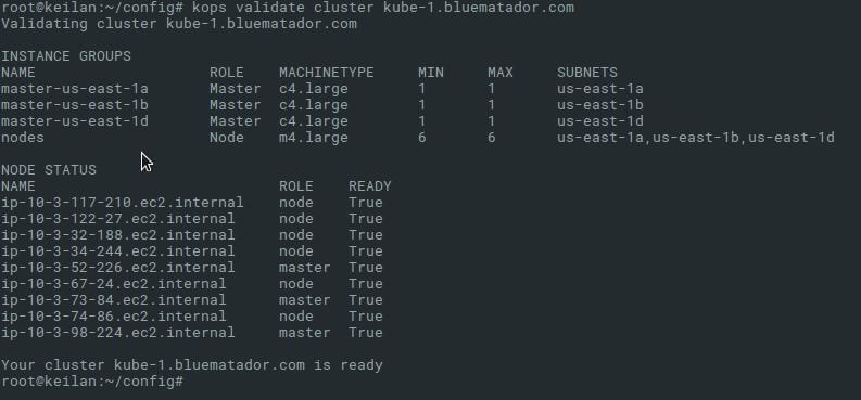 kops validate cluster output