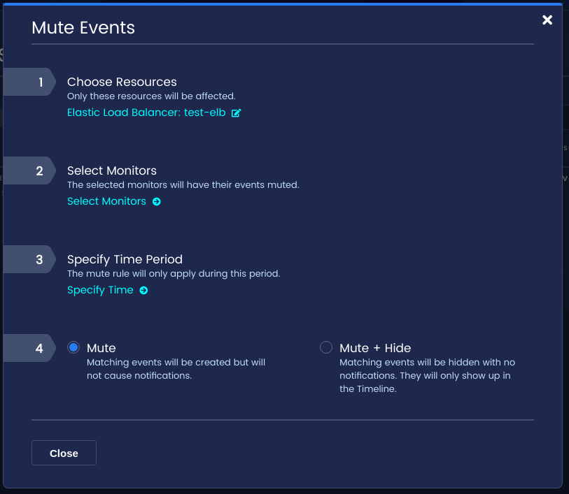 Fill out the event type, period, and mute mode, then click Save