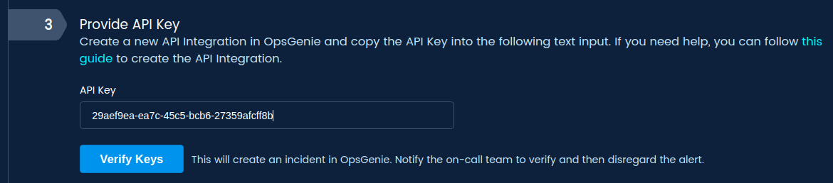 Create an API integration in Opsgenie.