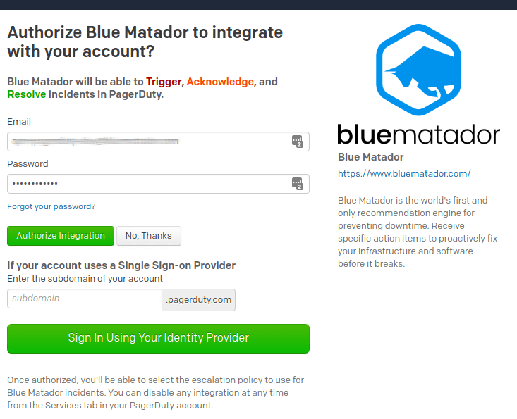 Login to PagerDuty to authorize the Blue Matador integration.