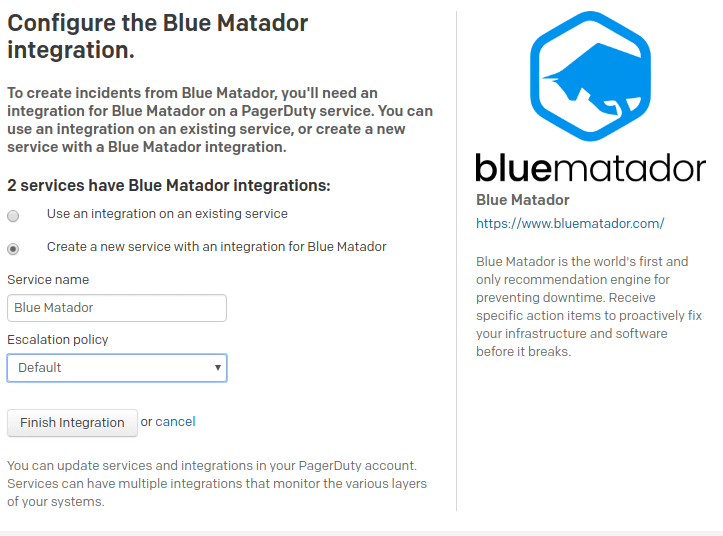 Choose which PagerDuty service to use with Blue Matador.