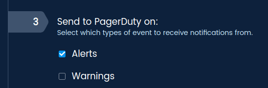 Choose which events will be sent to your PagerDuty account.